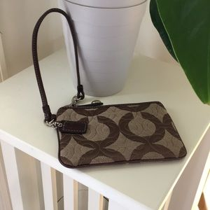 Brown tone coach signature wristlet!